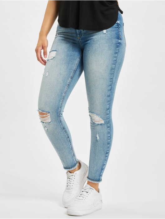 Only Skinny Jeans onlBlush Life Mid Raw Ankle Dest REA213 blau