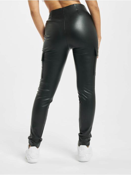 Only Spodnie Chino/Cargo onlMiri Faux Leather Cargo czarny