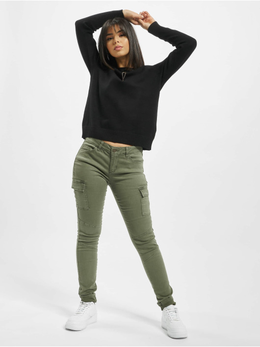 Only Spodnie Chino/Cargo onlCece-Bibi Regular Skinny oliwkowy