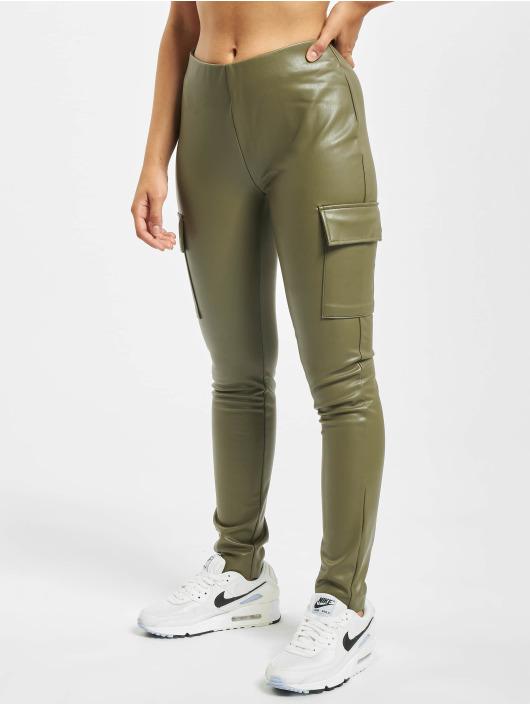 Only Spodnie Chino/Cargo onlMiri Faux Leather oliwkowy