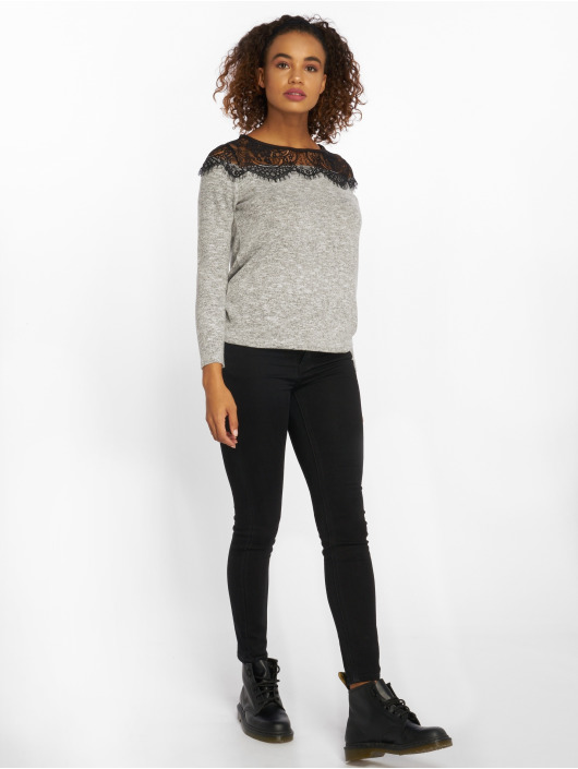 Only Sweat & Pull onlIdaho Lace Knit gris