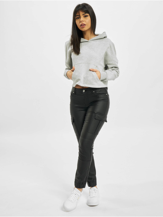 Only Sweat capuche onyFave Life Cropped gris