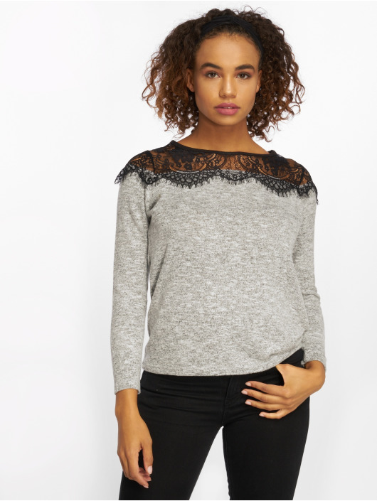 Only Swetry onlIdaho Lace Knit szary