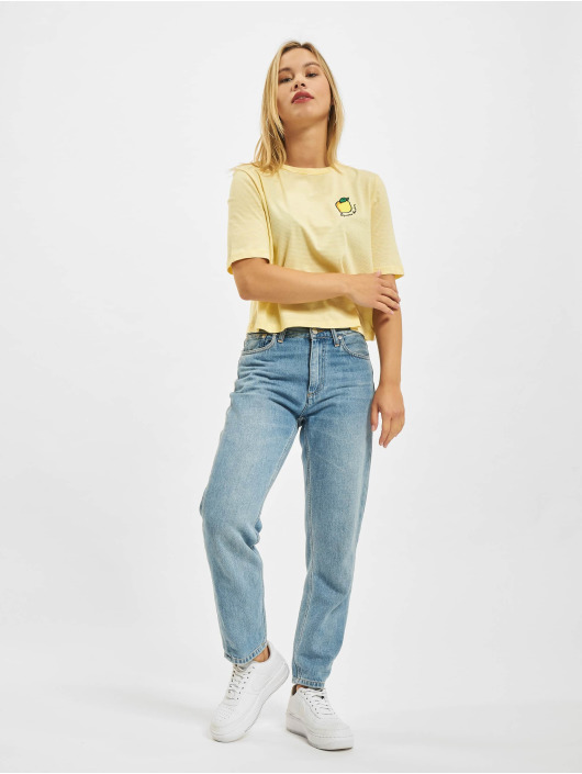 Only T-shirt Onlfruity Life Stripe JRS giallo