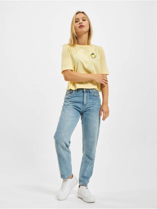 Only T-shirt Onlfruity Life Stripe JRS gul