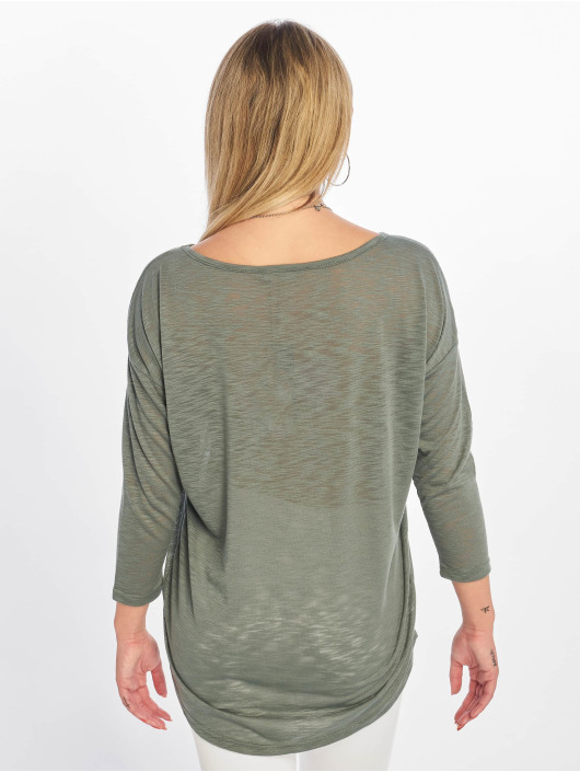 Only T-Shirt manches longues onlCasa Solid Slub 4/5 vert