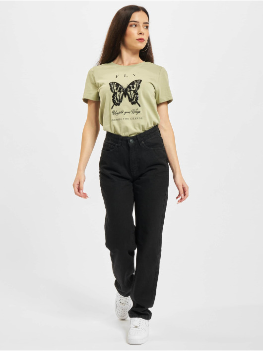 Only T-shirt Onlkita Life Butterfly Box JRS oliv