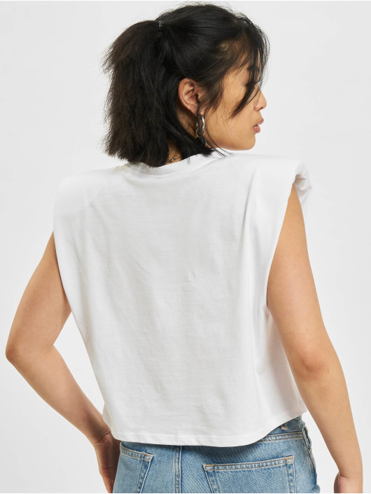 Only T-Shirt Jen Life Shoulderpad weiß