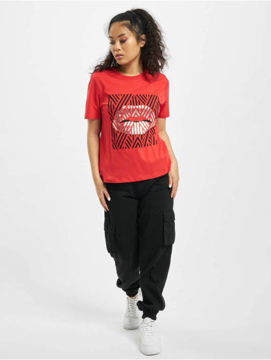 Only T-Shirty onlLips czerwony