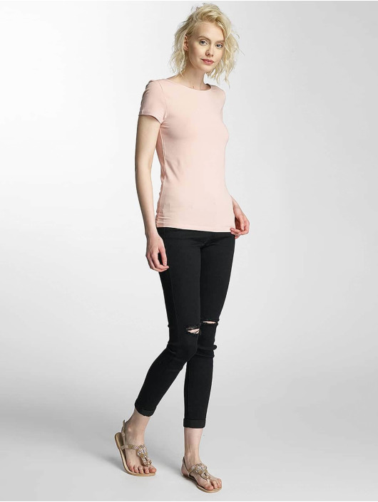 Only T-Shirty onlLive Love Lace Up rózowy