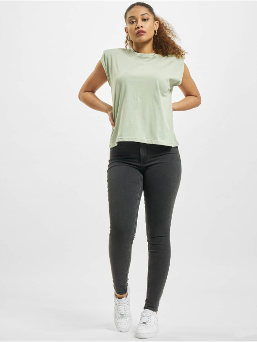 Only T-Shirty onlAmy Padded Shoulder zielony