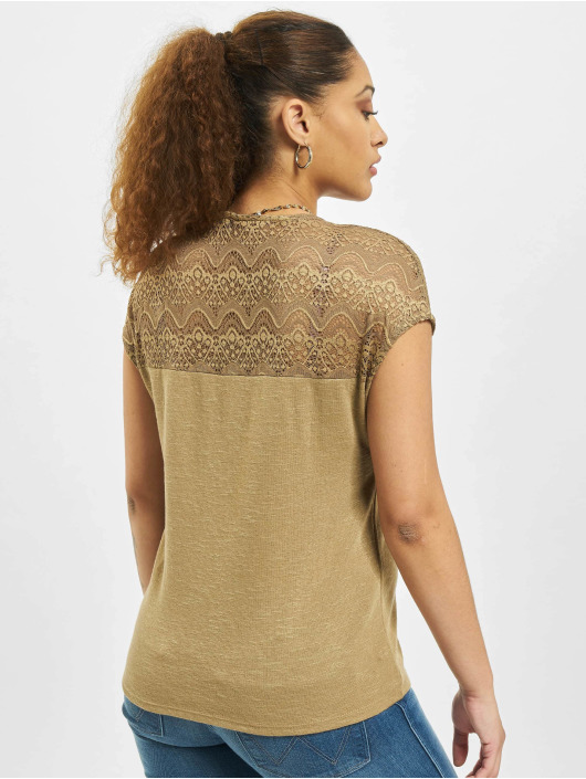 Only Tops onlElvira Mix Lace brazowy