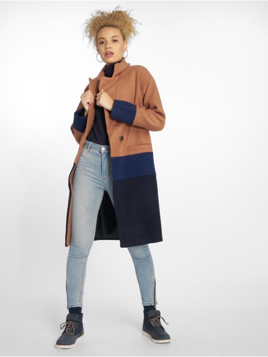 Only Ulkotakit Long Blocked Wool ruskea