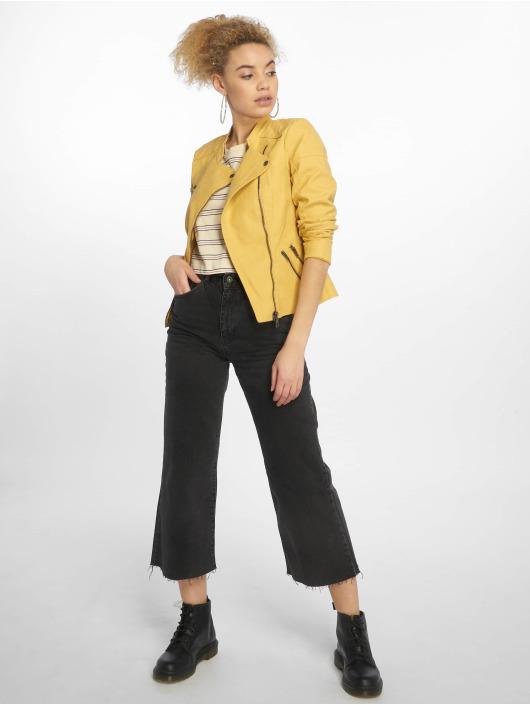 Only Veste & Blouson en cuir onlAva Faux jaune