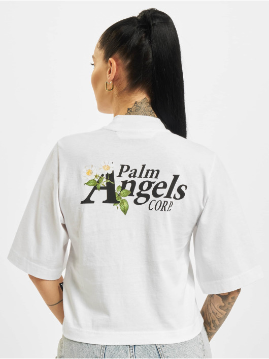 Palm Angels Camiseta Daisy Logo Cropped blanco