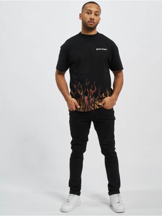 Palm Angels Camiseta Tiger Flames negro