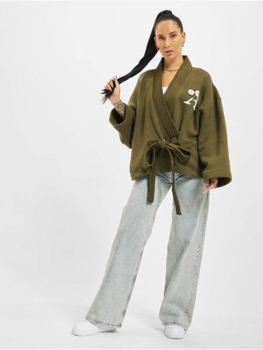 Palm Angels Swetry rozpinane Daisy Logo Kimono zielony