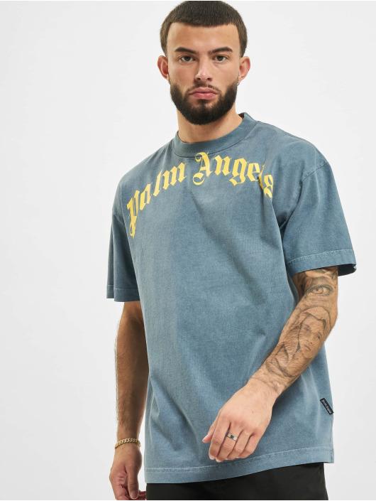 Palm Angels T-Shirt Vintage Wash Curved Logo blau