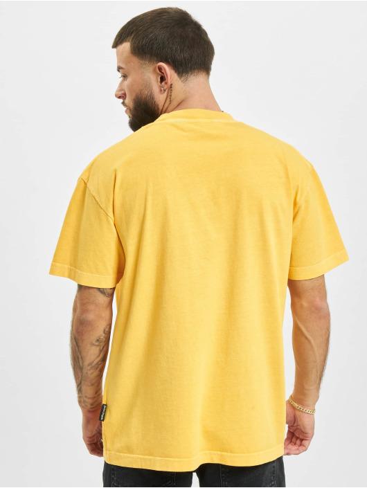 Palm Angels T-Shirt Vintage Wash Curved Logo jaune