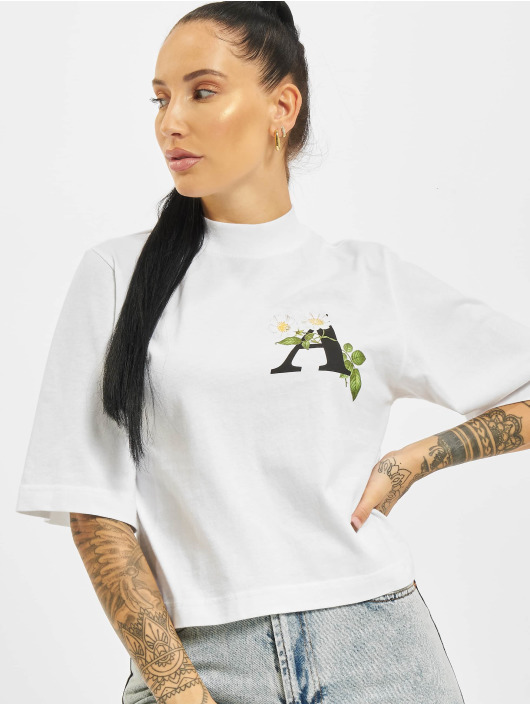 Palm Angels T-shirts Daisy Logo Cropped hvid