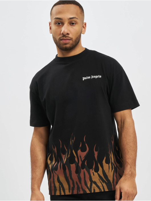 Palm Angels T-Shirty Tiger Flames czarny