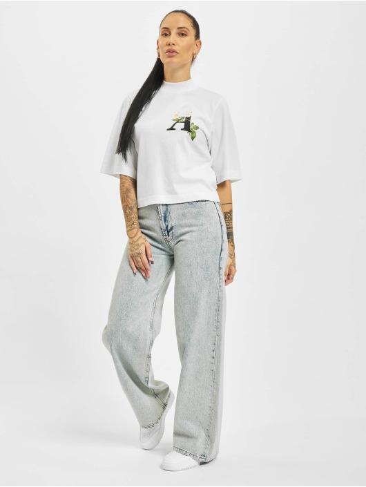 Palm Angels T-skjorter Daisy Logo Cropped hvit