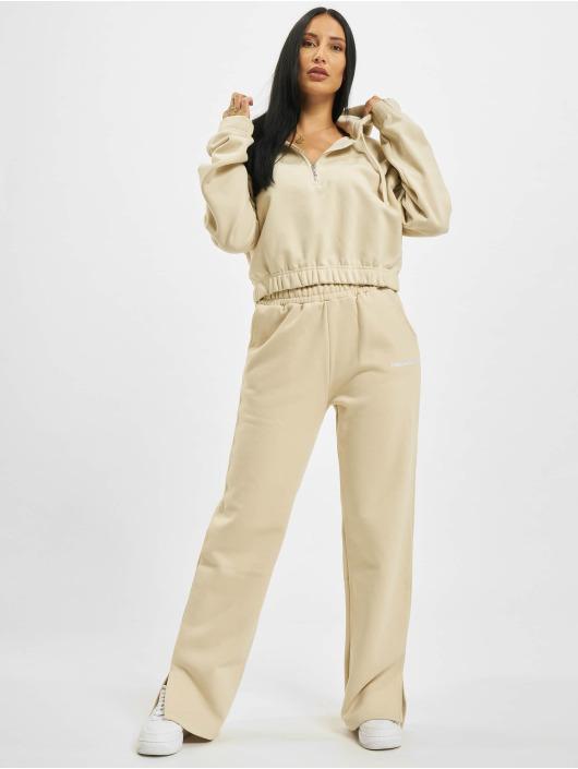 PEGADOR Bluzy z kapturem Nicki Oversized Cropped Zipper bezowy