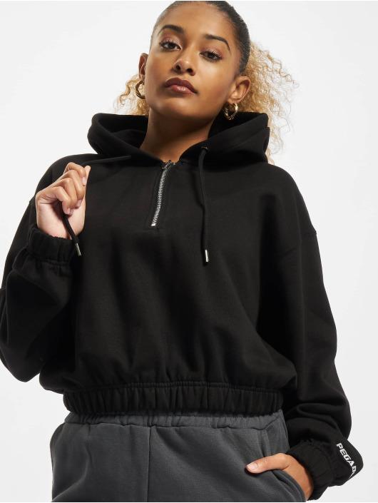 PEGADOR Bluzy z kapturem Nicki Oversized Cropped Half Zip czarny