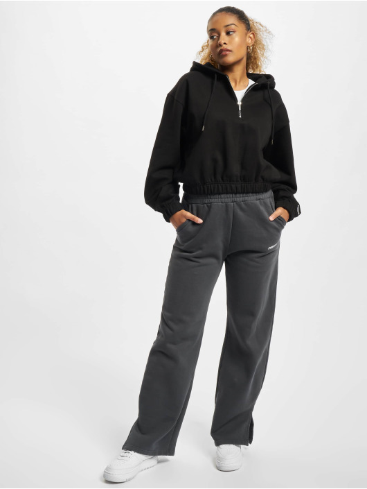 PEGADOR Hoodie Nicki Oversized Cropped Half Zip svart