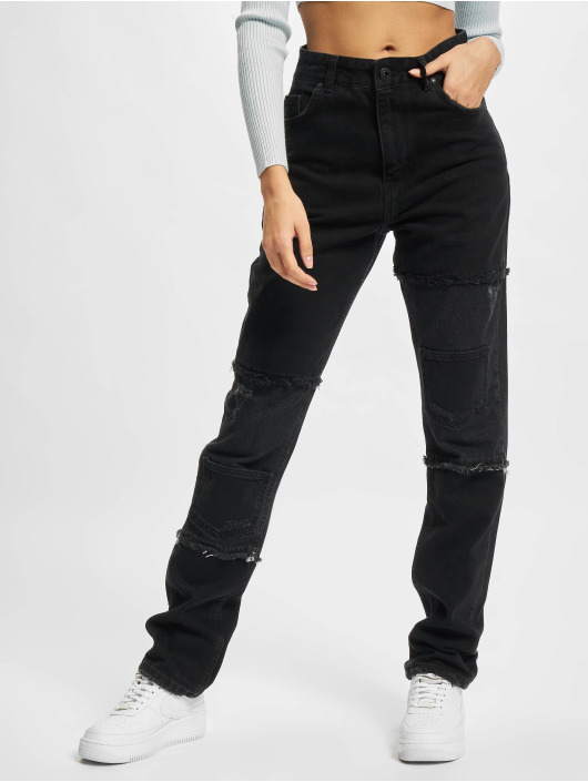 PEGADOR Jeans straight fit Lodi Wide Patchwork nero