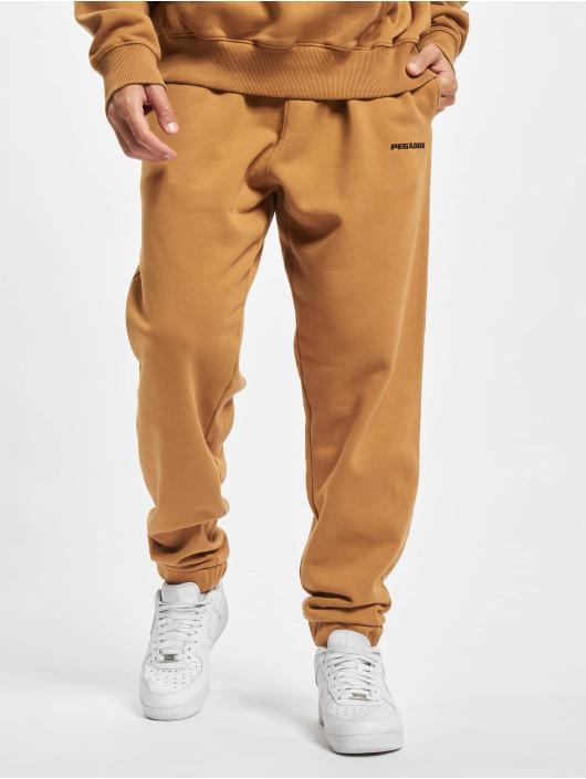 PEGADOR Jogging kalhoty Logo Heavy hnědý