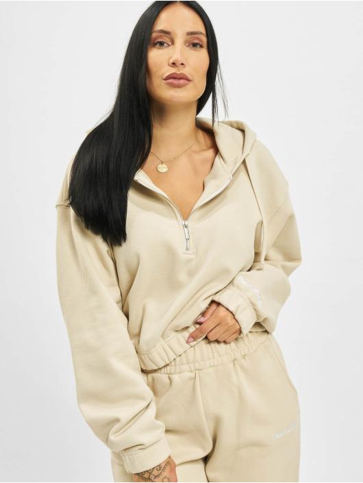 PEGADOR Mikiny Nicki Oversized Cropped Zipper béžová