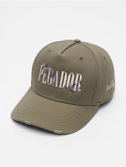 PEGADOR Snapback Caps Embroidery Destroyed oliwkowy