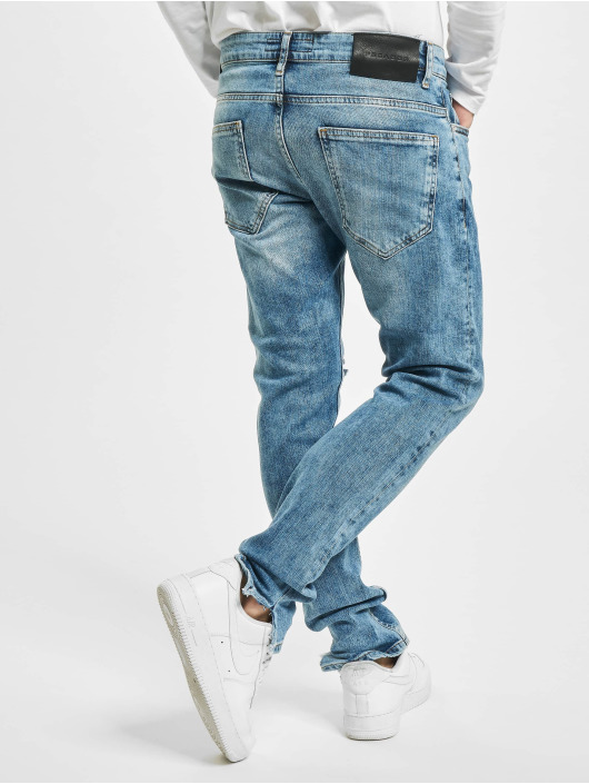 PEGADOR Straight Fit Jeans Distressed Ankle blau