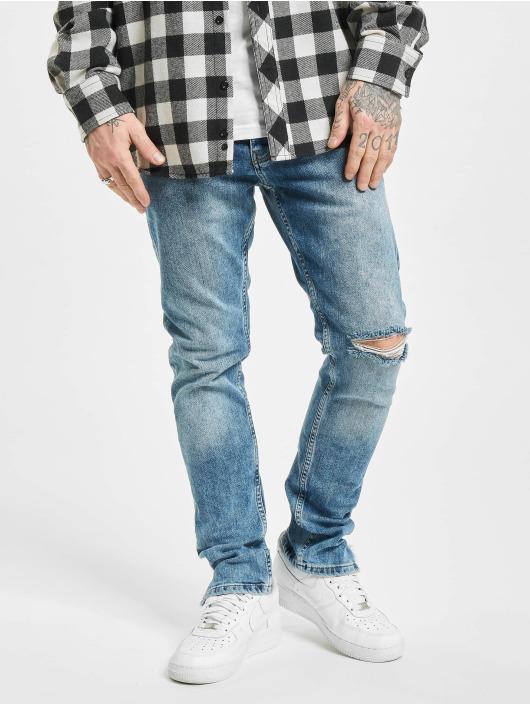 PEGADOR Straight Fit Jeans Distressed Ankle modrý