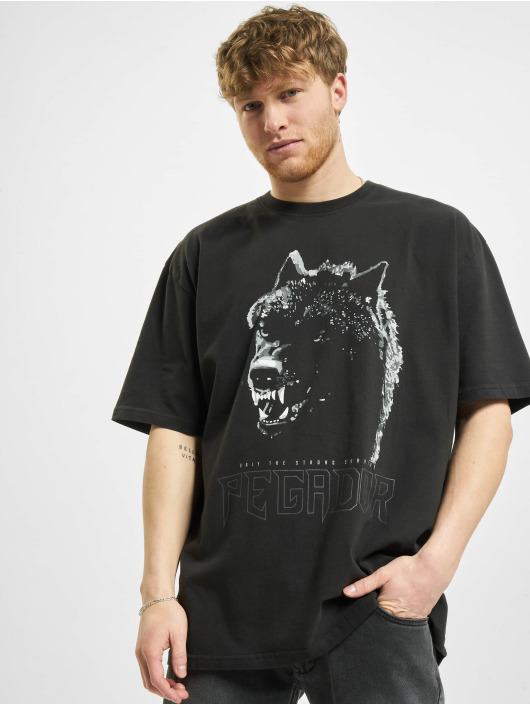 PEGADOR T-Shirty Oregon Oversized Washed czarny