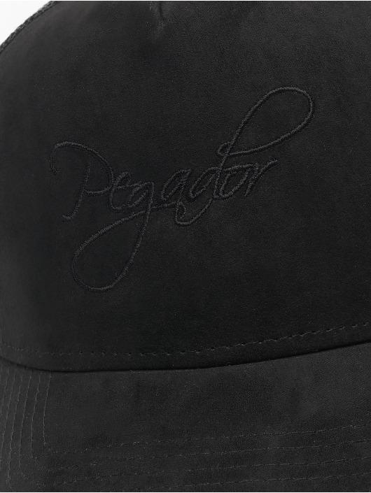 PEGADOR Trucker Cap Cursive Suede schwarz