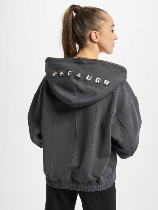 PEGADOR Zip Hoodie Seam Cropped серый