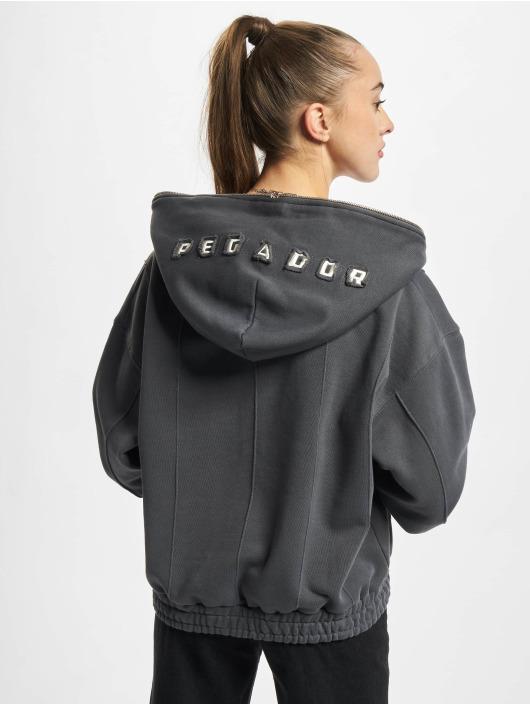 PEGADOR Zip Hoodie Seam Cropped grå