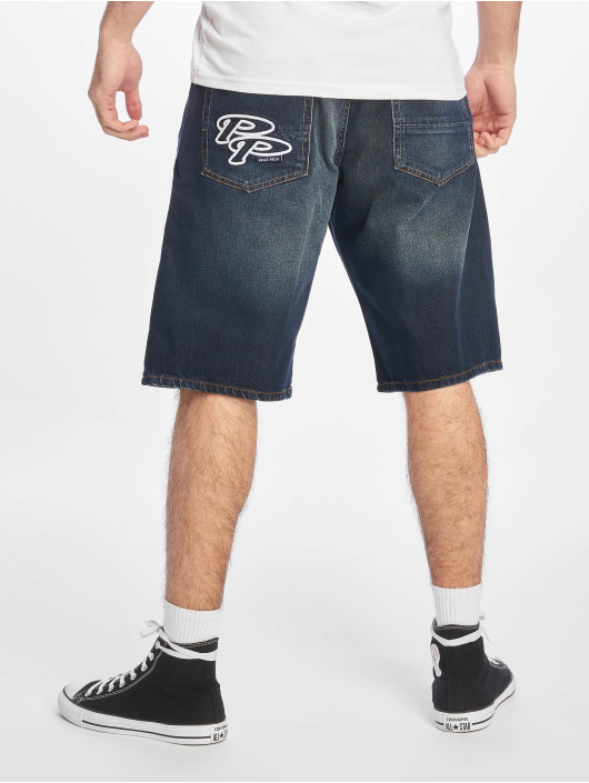 Pelle Pelle Shorts Double P Denim blå