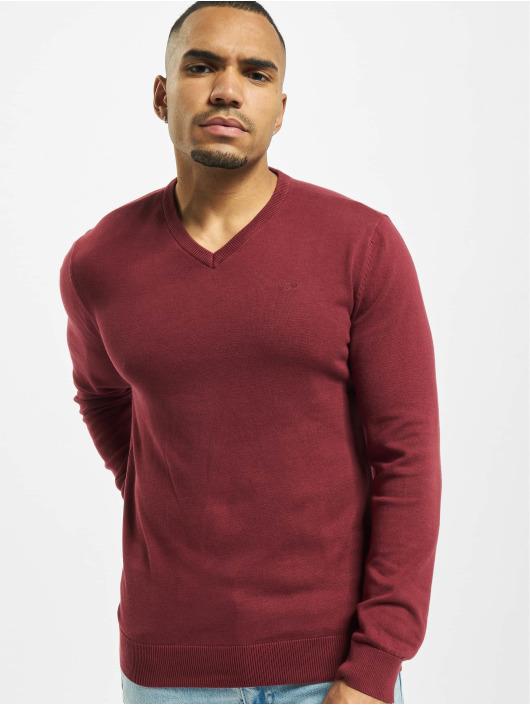 Petrol Industries Swetry V-Neck Knit czerwony