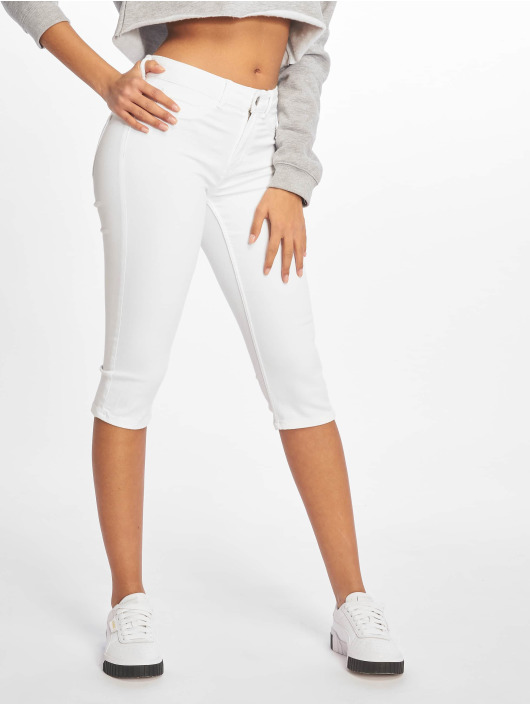 Pieces Slim Fit Jeans pcSage Shape-Up Mid Waist weiß