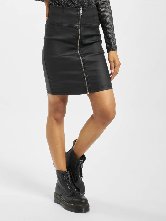 Pieces Sukně pcIvy Matt Coated High Waist Zip Pencil čern