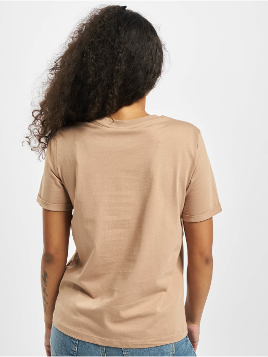 Pieces T-Shirt pcRia Fold Up Solid Noos beige