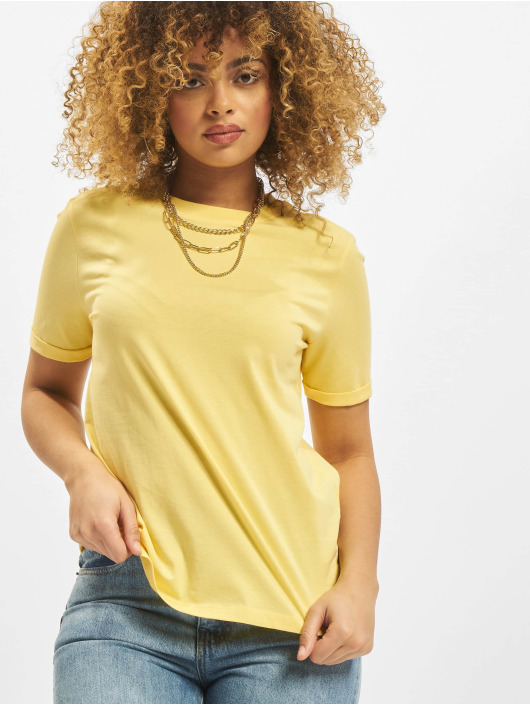 Pieces t-shirt pcRia Fold Up Solid geel