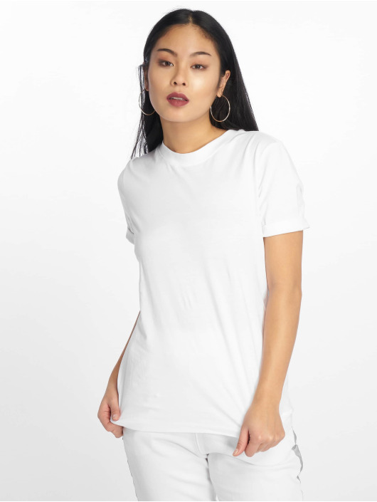 Pieces T-Shirt pcRia Fold Up Solid weiß
