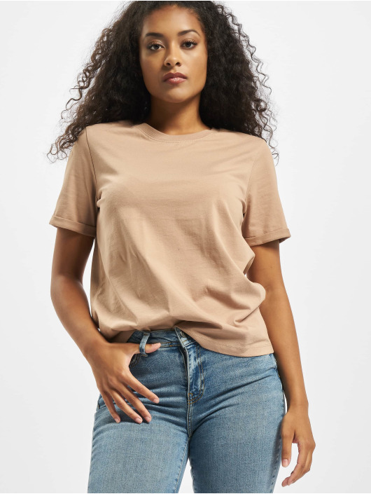 Pieces T-Shirty pcRia Fold Up Solid Noos bezowy