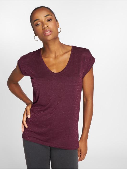 Pieces T-Shirty pcBillo Lurex Stripes czerwony
