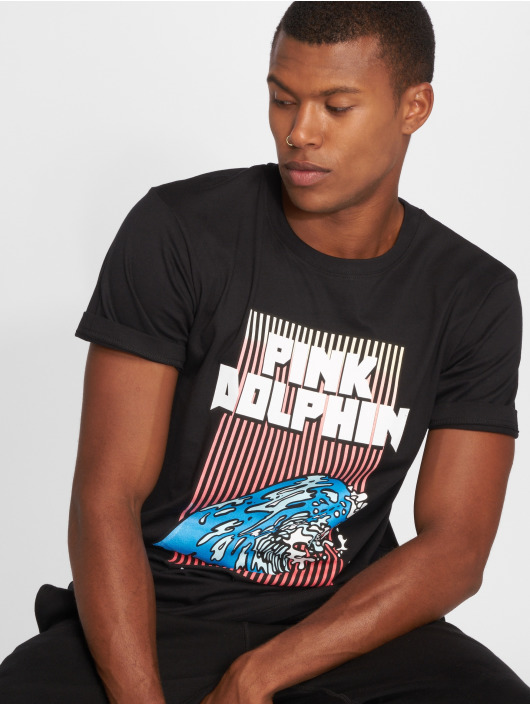 Pink Dolphin T-Shirt Digital Waves black