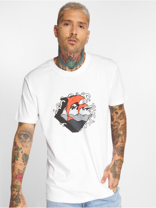 Pink Dolphin T-Shirt Summer Waves blanc